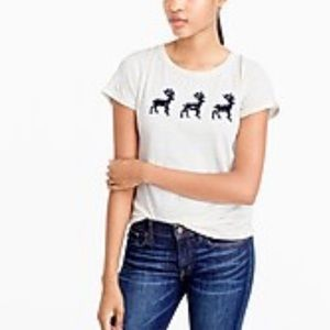 J. Crew Lace Reindeer T-Shirt Tee Top Women's S